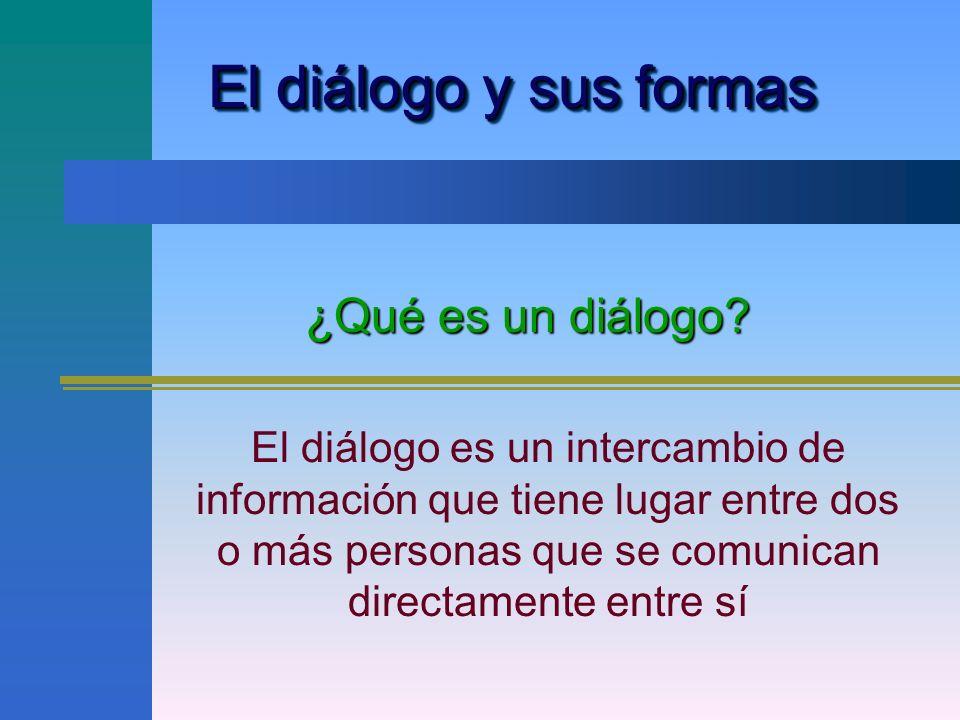 El diálogo y sus formas ¿Qué es un diálogo
