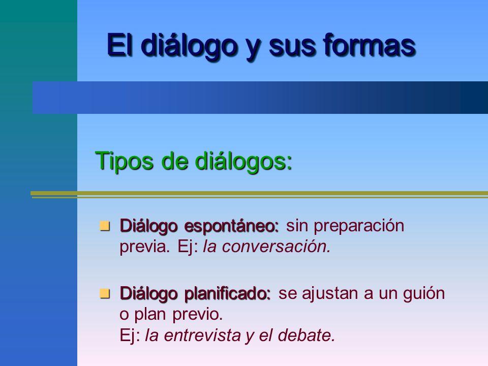 El diálogo y sus formas Tipos de diálogos: