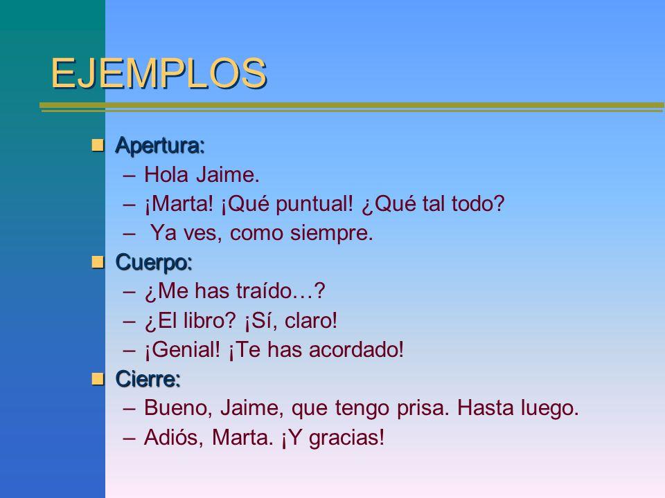 EJEMPLOS Apertura: Hola Jaime. ¡Marta! ¡Qué puntual! ¿Qué tal todo