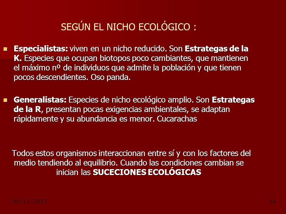 SEGÚN EL NICHO ECOLÓGICO :