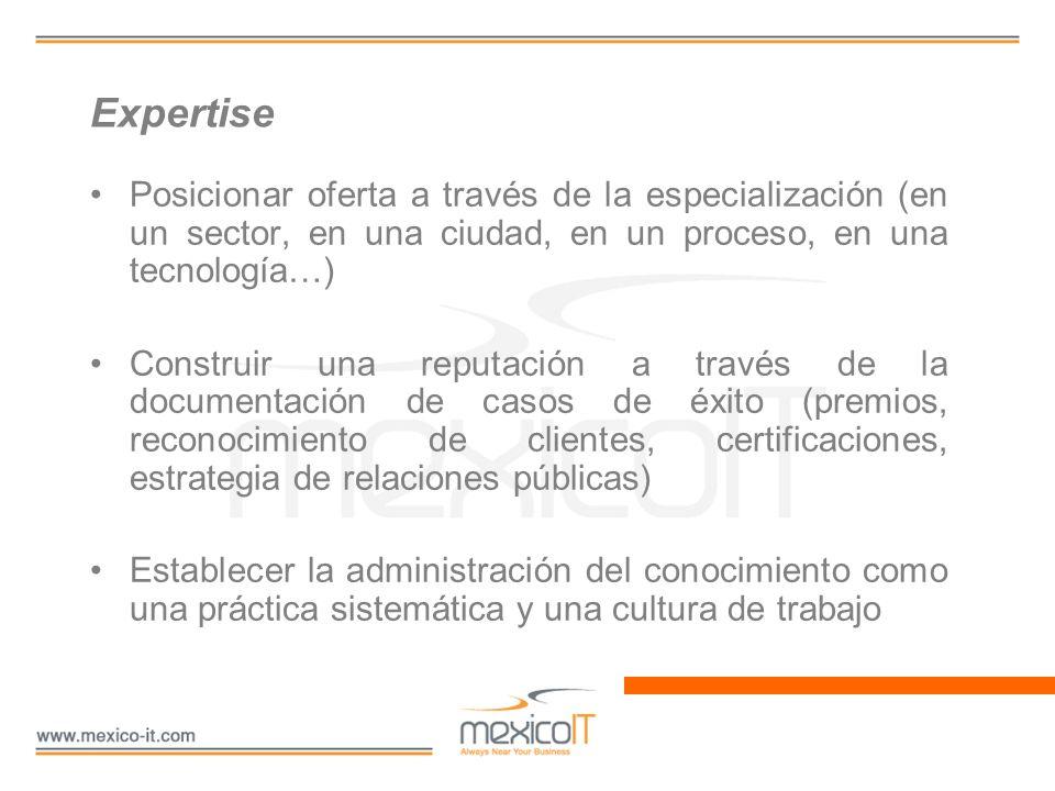 Expertise Posicionar oferta a través de la especialización (en un sector, en una ciudad, en un proceso, en una tecnología…)