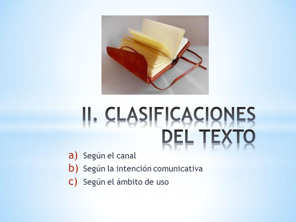 II. CLASIFICACIONES DEL TEXTO
