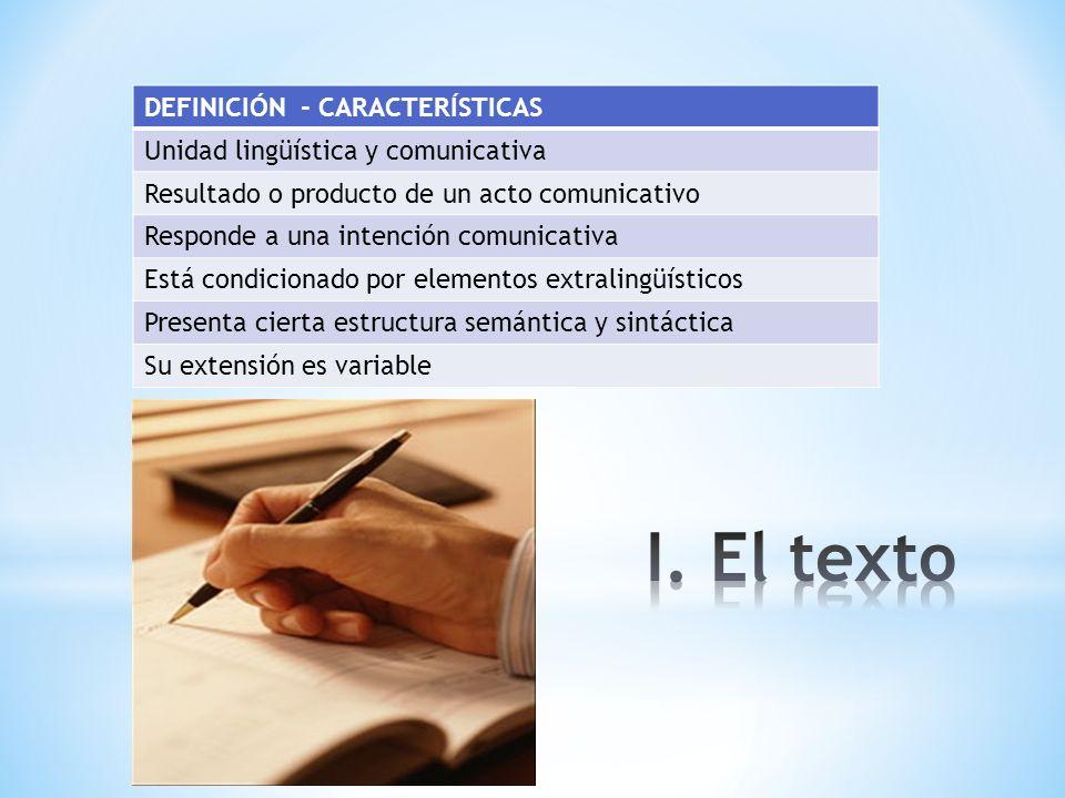I. El texto DEFINICIÓN - CARACTERÍSTICAS