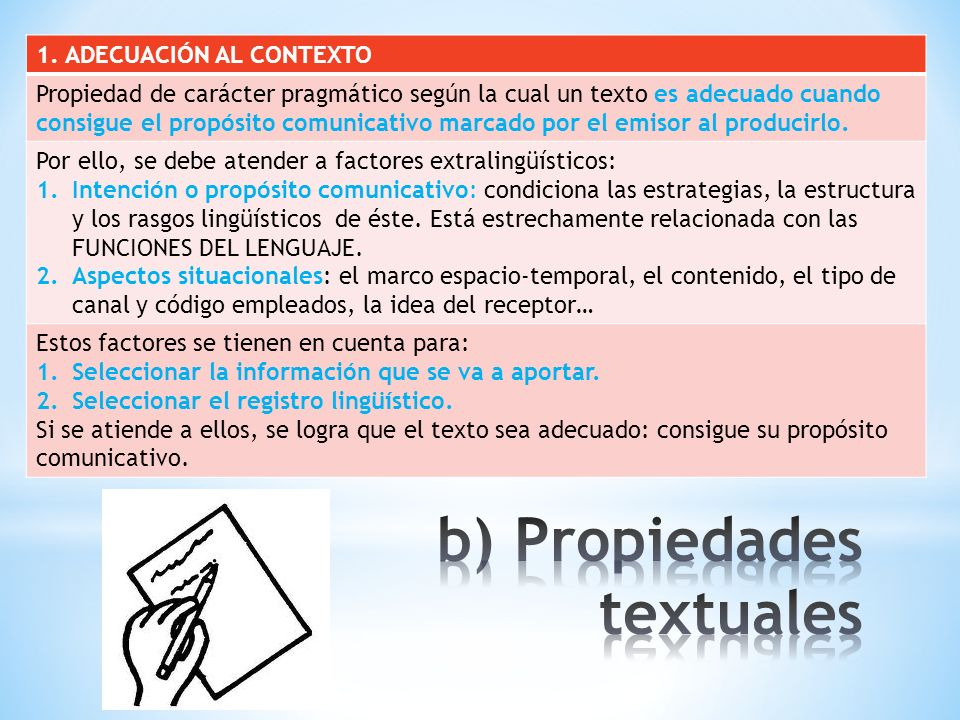b) Propiedades textuales
