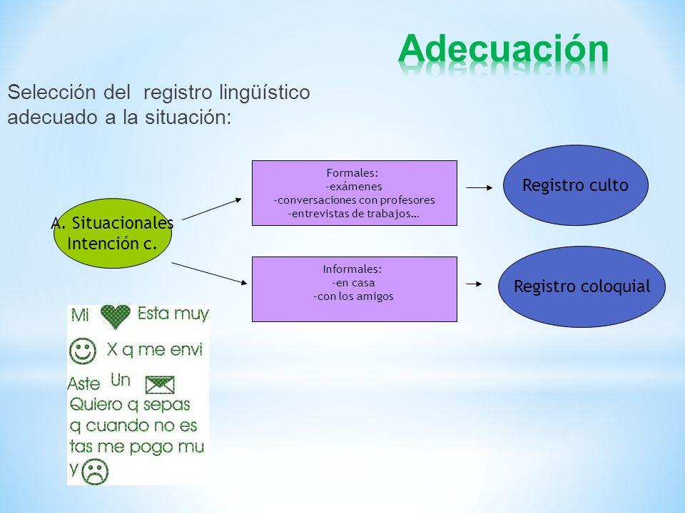 Adecuación Selección del registro lingüístico adecuado a la situación: