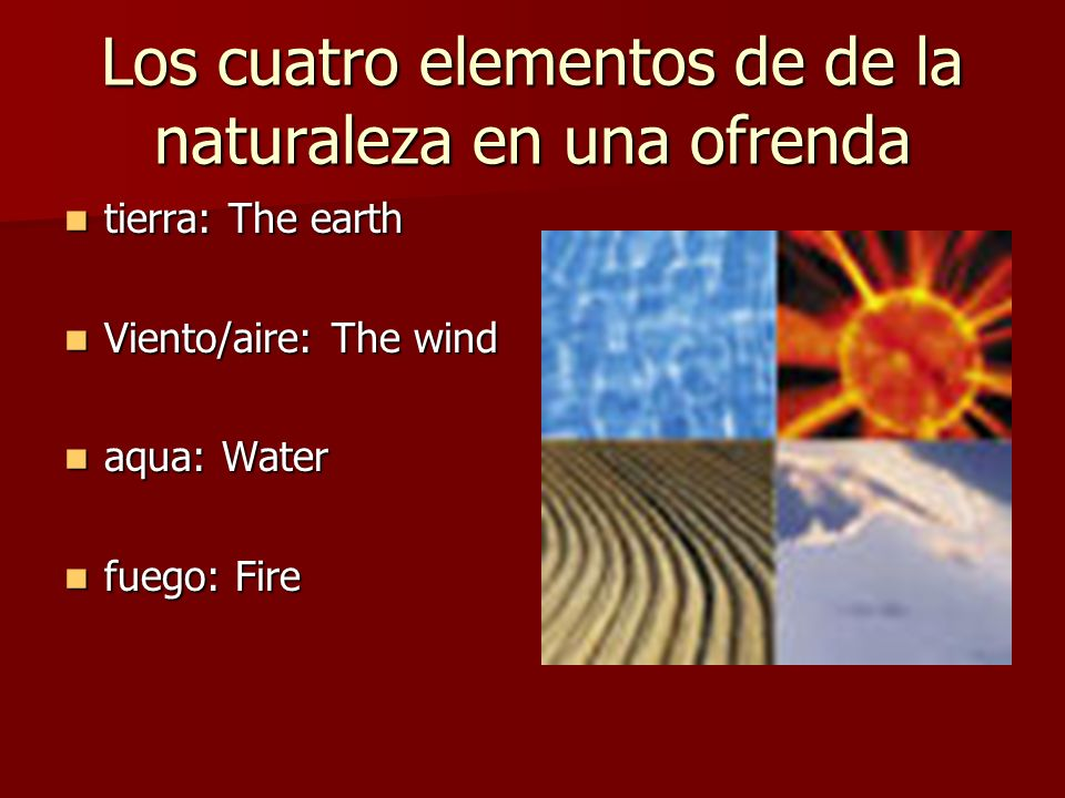 Los cuatro elementos de de la naturaleza en una ofrenda