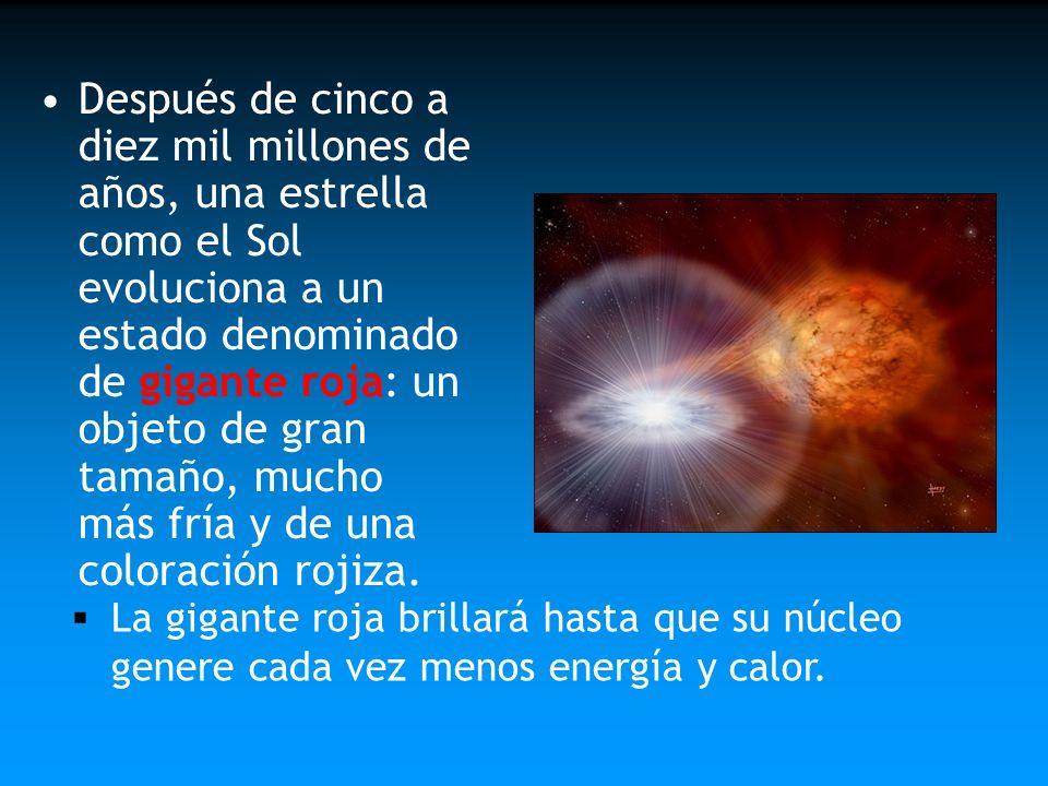 Después de cinco a diez mil millones de años, una estrella como el Sol evoluciona a un estado denominado de gigante roja: un objeto de gran tamaño, mucho más fría y de una coloración rojiza.
