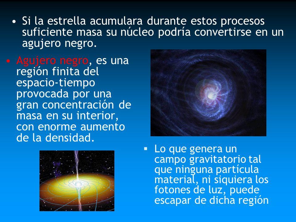 Si la estrella acumulara durante estos procesos suficiente masa su núcleo podría convertirse en un agujero negro.