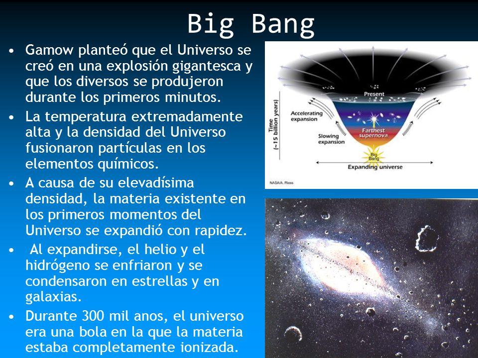 Big BangGamow planteó que el Universo se creó en una explosión gigantesca y que los diversos se produjeron durante los primeros minutos.
