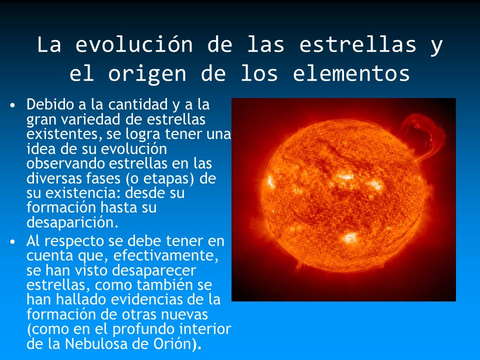 La evolución de las estrellas y el origen de los elementos