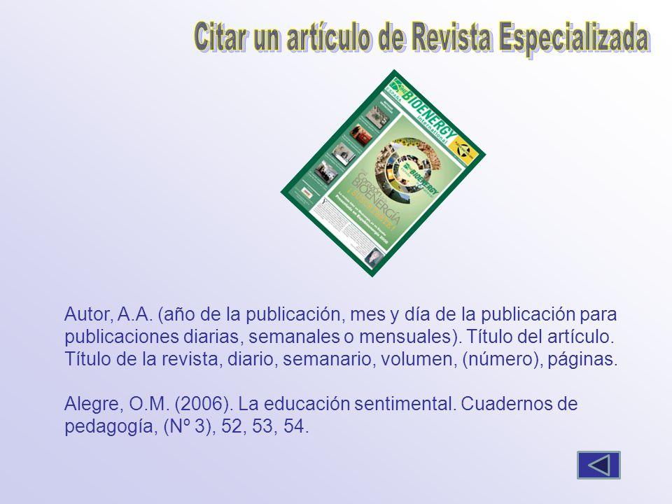 Citar un artículo de Revista Especializada