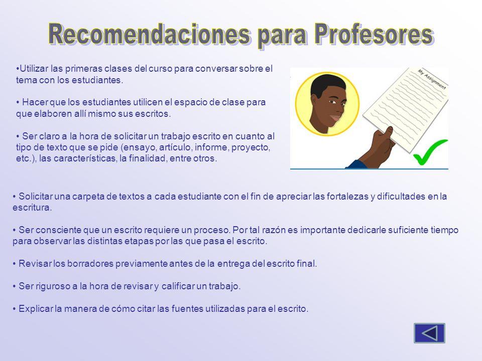 Recomendaciones para Profesores