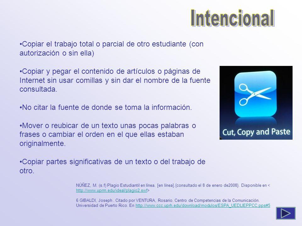 Intencional Copiar el trabajo total o parcial de otro estudiante (con autorización o sin ella)