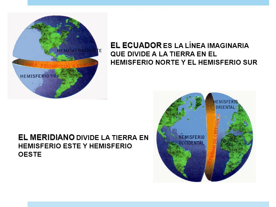 EL ECUADOR ES LA LÍNEA IMAGINARIA QUE DIVIDE A LA TIERRA EN EL HEMISFERIO NORTE Y EL HEMISFERIO SUR