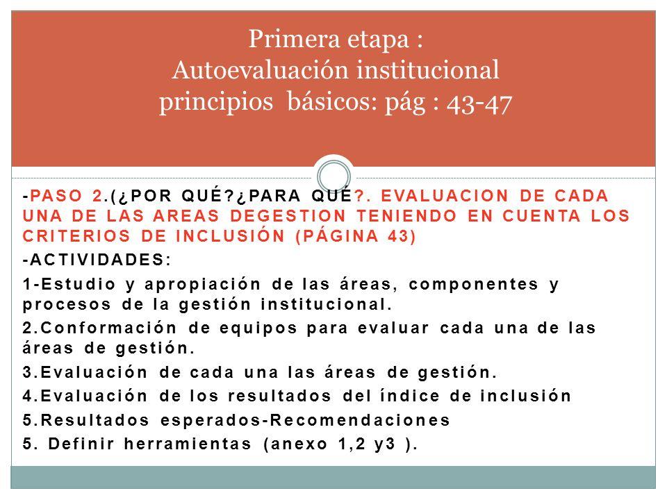 Primera etapa : Autoevaluación institucional principios básicos: pág : 43-47