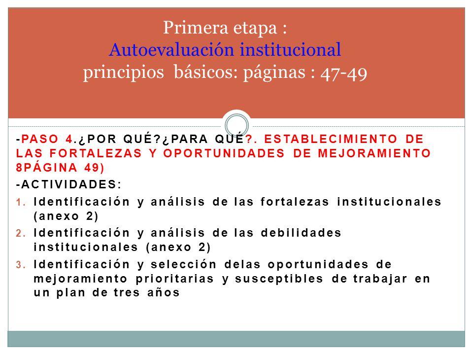 Primera etapa : Autoevaluación institucional principios básicos: páginas : 47-49