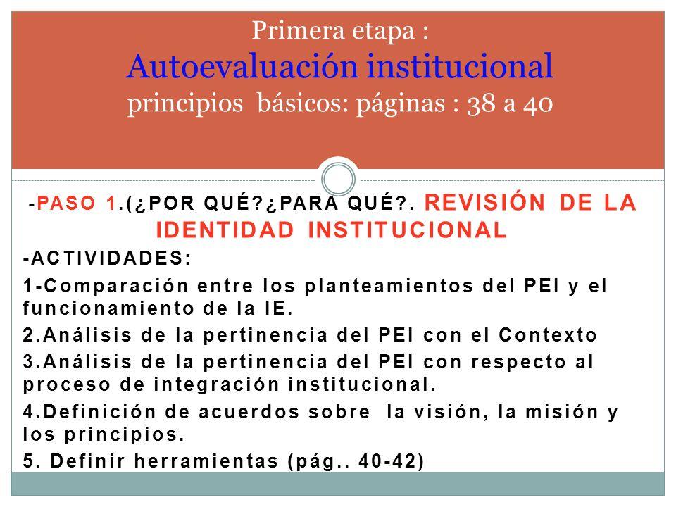 -Paso 1.(¿por qué ¿PARA QUÉ . Revisión de la identidad institucional