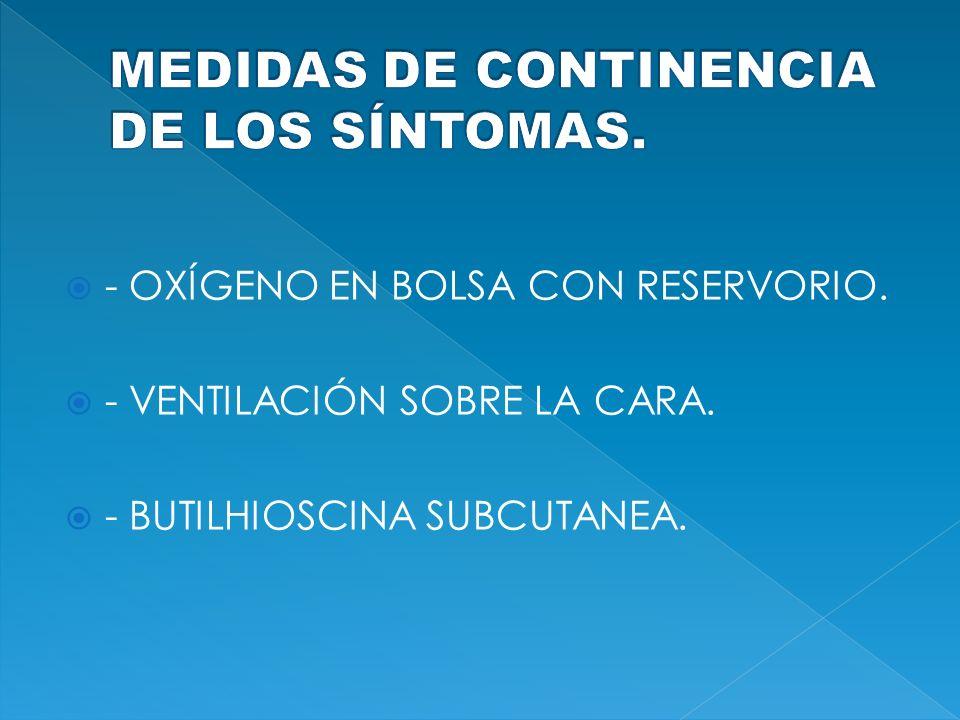 MEDIDAS DE CONTINENCIA DE LOS SÍNTOMAS.