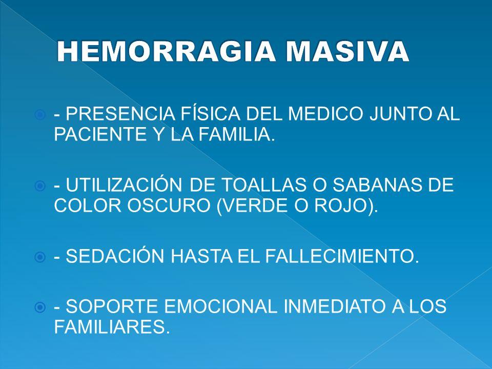 HEMORRAGIA MASIVA - PRESENCIA FÍSICA DEL MEDICO JUNTO AL PACIENTE Y LA FAMILIA. - UTILIZACIÓN DE TOALLAS O SABANAS DE COLOR OSCURO (VERDE O ROJO).