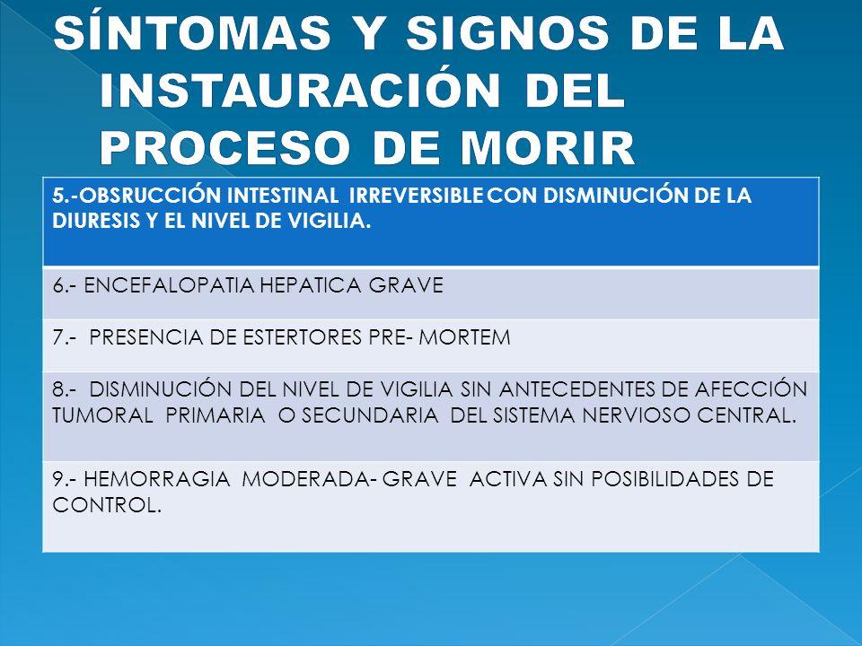SÍNTOMAS Y SIGNOS DE LA INSTAURACIÓN DEL PROCESO DE MORIR