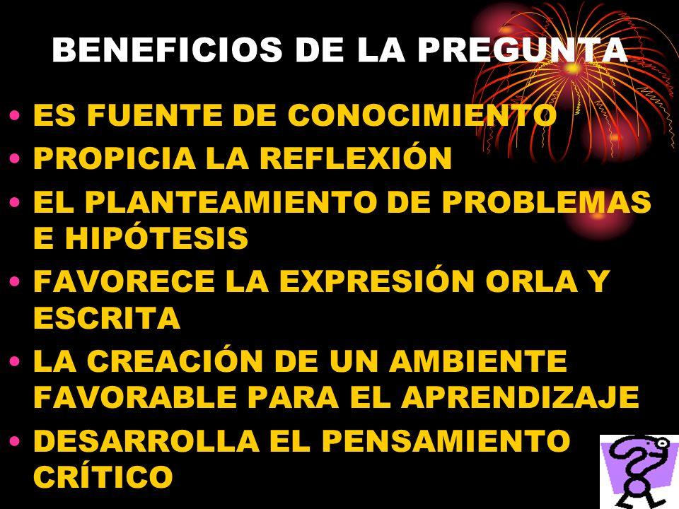BENEFICIOS DE LA PREGUNTA