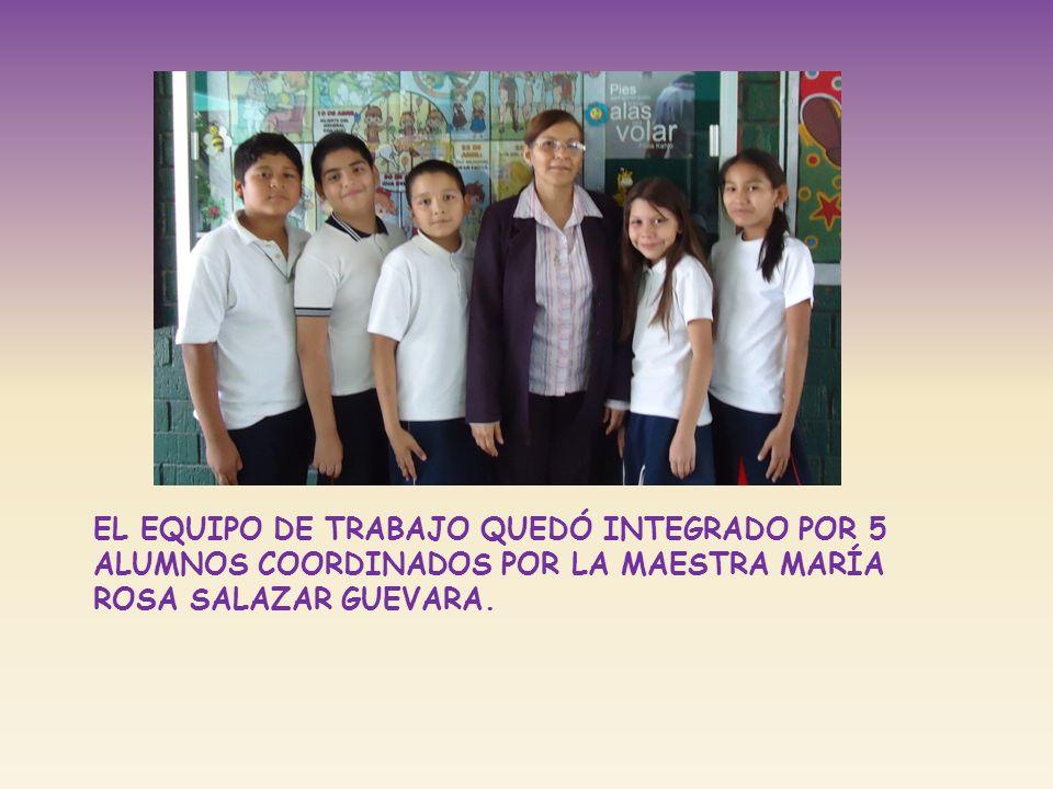 El equipo de trabajo quedó integrado por 5 alumnos coordinados por la maestra maría rosa Salazar Guevara.