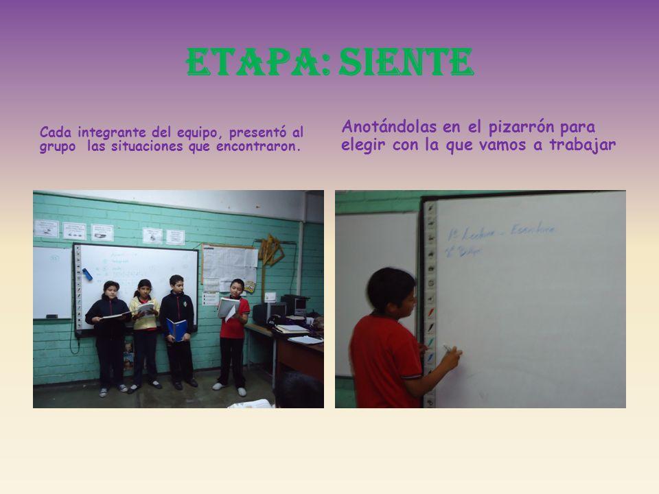 ETAPA: SIENTECada integrante del equipo, presentó al grupo las situaciones que encontraron.