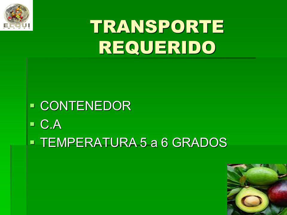 TRANSPORTE REQUERIDO CONTENEDOR C.A TEMPERATURA 5 a 6 GRADOS