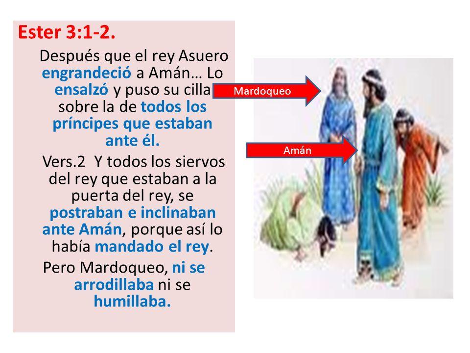 Pero Mardoqueo, ni se arrodillaba ni se humillaba.