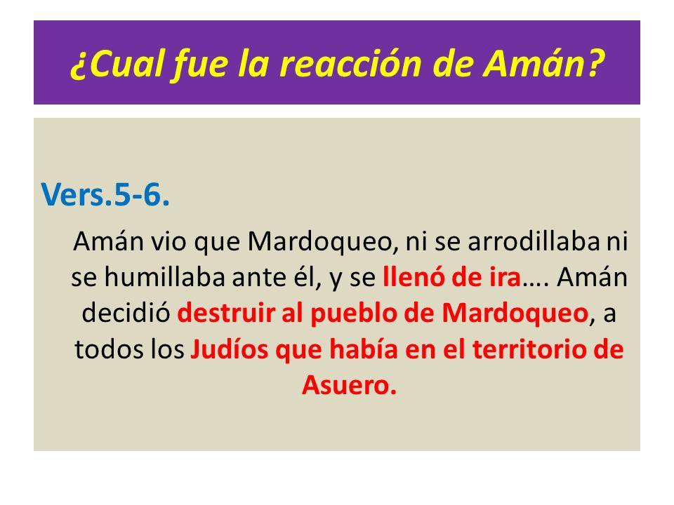 ¿Cual fue la reacción de Amán