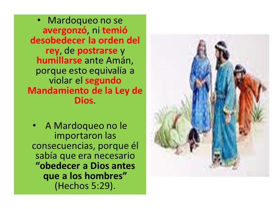Mardoqueo no se avergonzó, ni temió desobedecer la orden del rey, de postrarse y humillarse ante Amán, porque esto equivalía a violar el segundo Mandamiento de la Ley de Dios.
