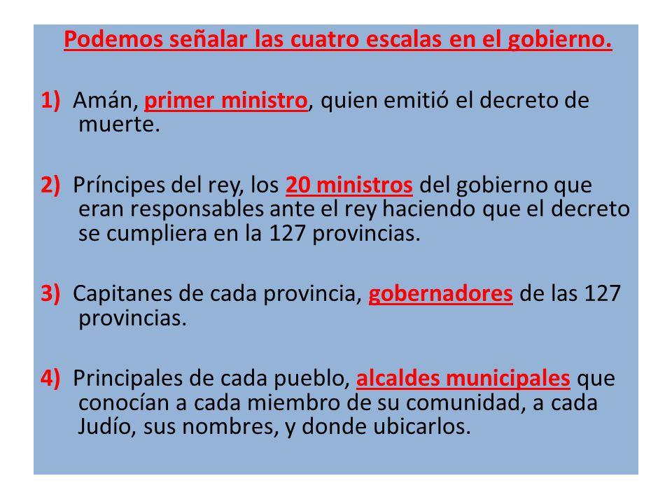 Podemos señalar las cuatro escalas en el gobierno.