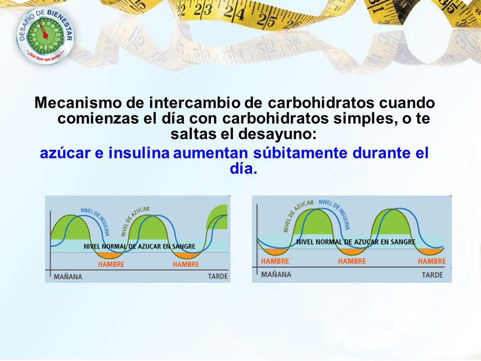 azúcar e insulina aumentan súbitamente durante el día.