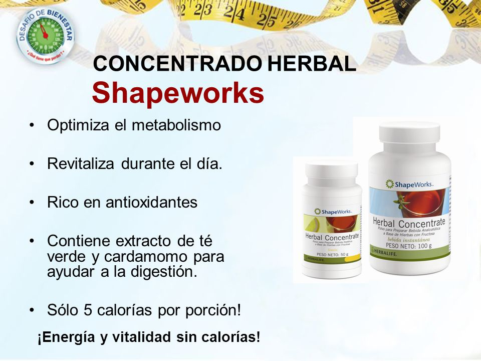 Shapeworks CONCENTRADO HERBAL Optimiza el metabolismo