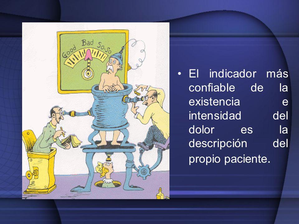 El indicador más confiable de la existencia e intensidad del dolor es la descripción del propio paciente.