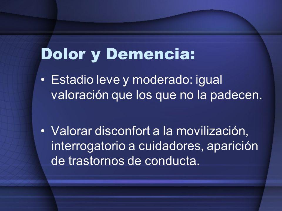 Dolor y Demencia:Estadio leve y moderado: igual valoración que los que no la padecen.