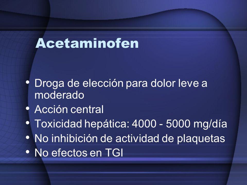 Acetaminofen Droga de elección para dolor leve a moderado