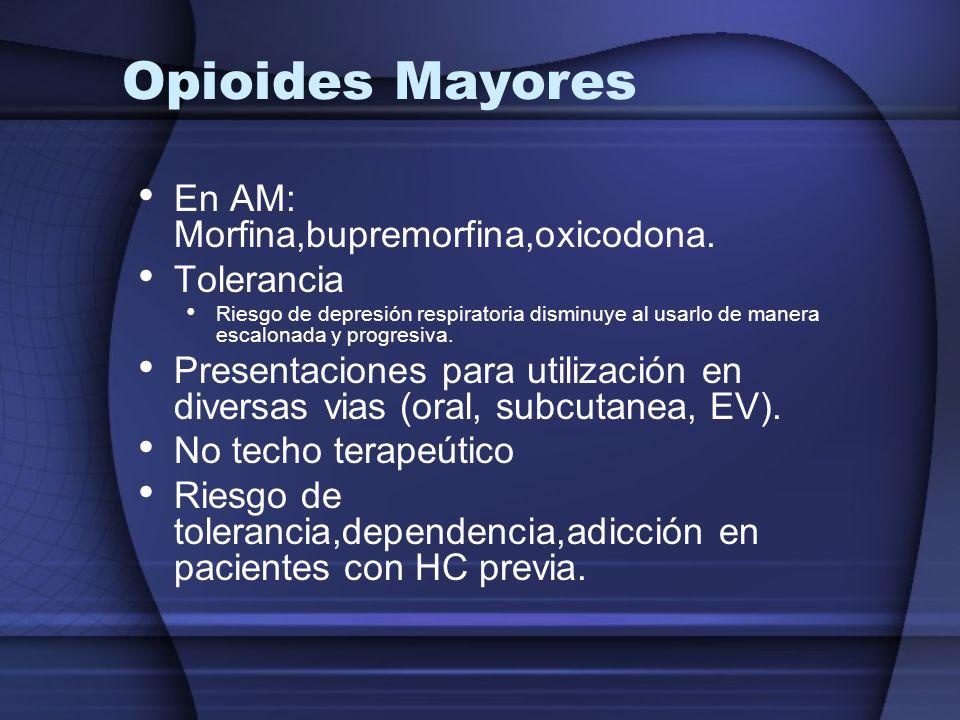 Opioides Mayores En AM: Morfina,bupremorfina,oxicodona. Tolerancia