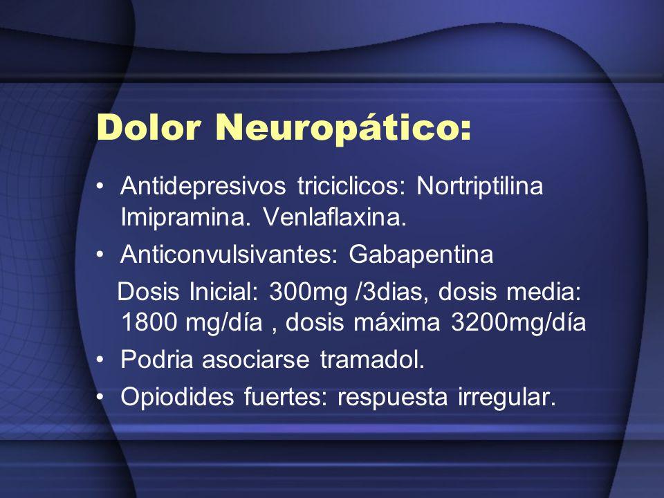Dolor Neuropático:Antidepresivos triciclicos: Nortriptilina Imipramina. Venlaflaxina. Anticonvulsivantes: Gabapentina.