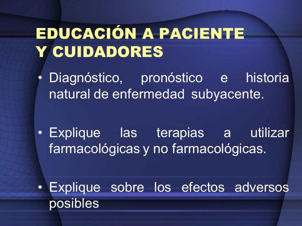 EDUCACIÓN A PACIENTE Y CUIDADORES