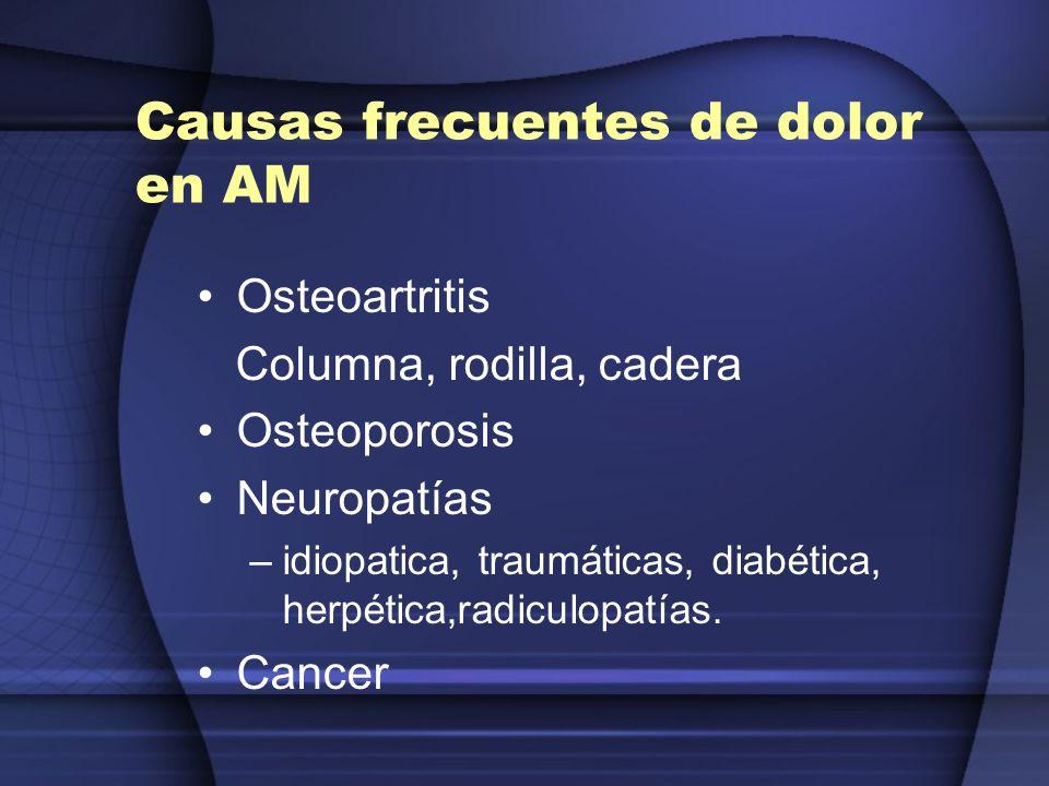 Causas frecuentes de dolor en AM