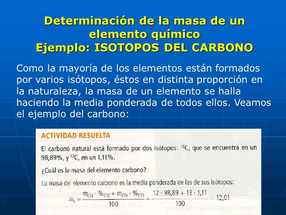 Determinación de la masa de un elemento químico Ejemplo: ISOTOPOS DEL CARBONO