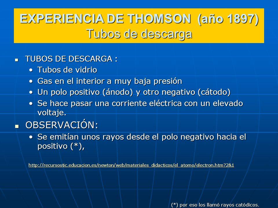 EXPERIENCIA DE THOMSON (año 1897) Tubos de descarga