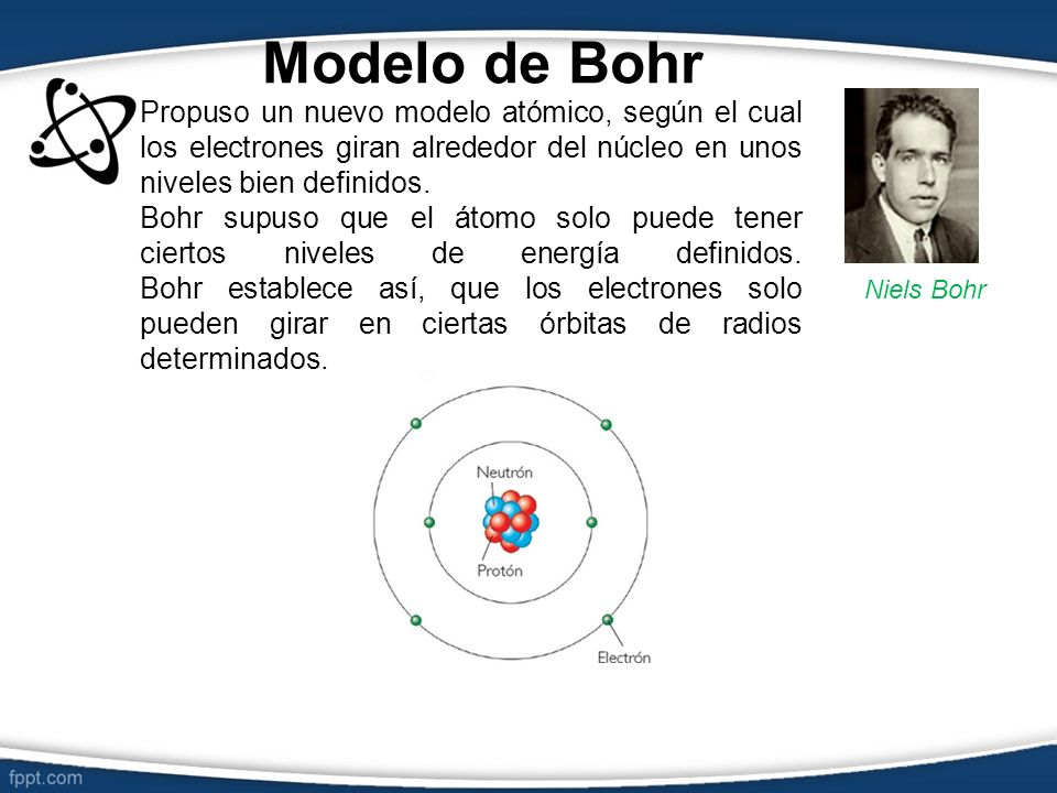 Modelo de Bohr Propuso un nuevo modelo atómico, según el cual los electrones giran alrededor del núcleo en unos niveles bien definidos.
