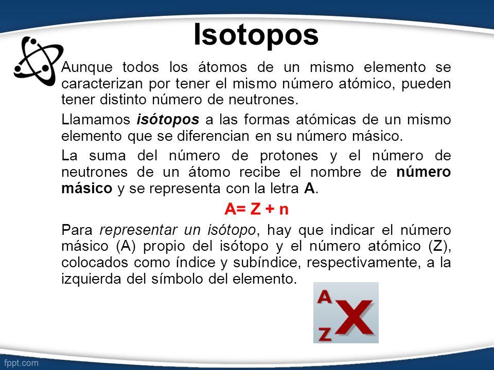 Isotopos Aunque todos los átomos de un mismo elemento se caracterizan por tener el mismo número atómico, pueden tener distinto número de neutrones.