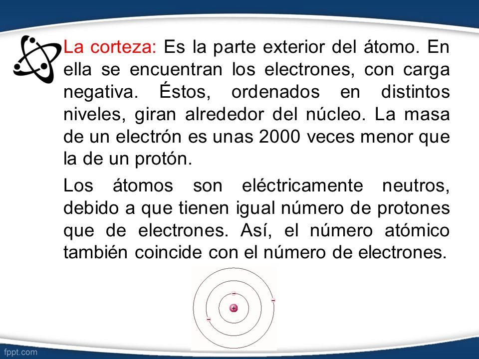 La corteza: Es la parte exterior del átomo