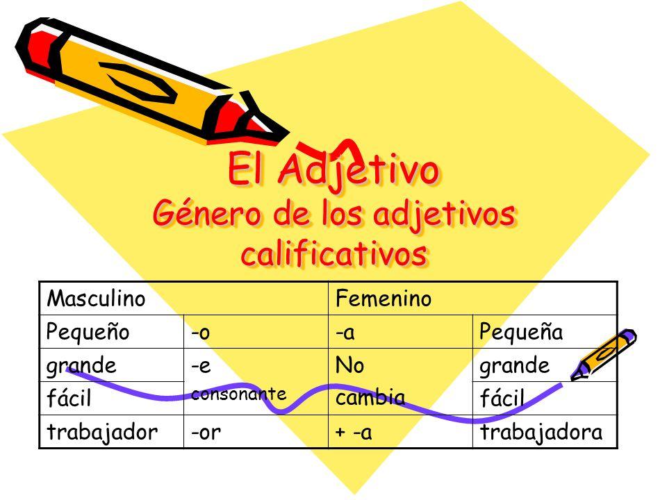 El Adjetivo Género de los adjetivos calificativos