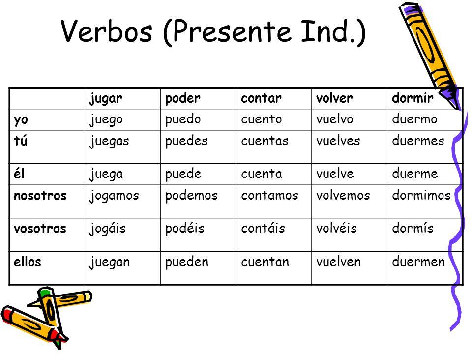 Verbos (Presente Ind.) jugar poder contar volver dormir yo juego puedo