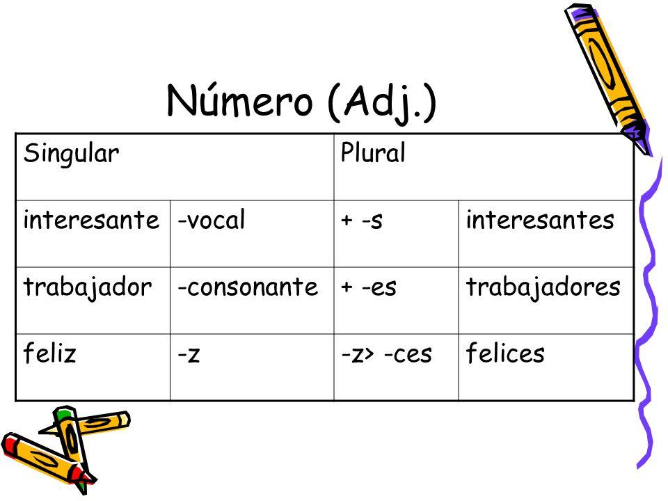Número (Adj.) Singular Plural interesante -vocal + -s interesantes
