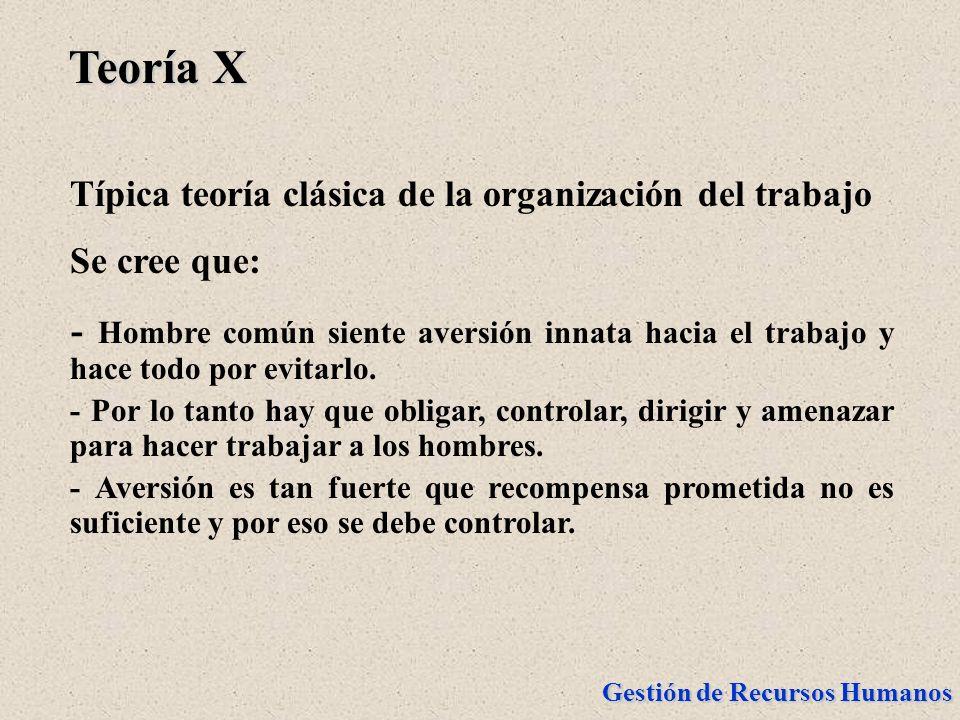 Teoría X Típica teoría clásica de la organización del trabajo